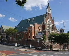 The Uniting Church sits at the original height of Vulture Street.