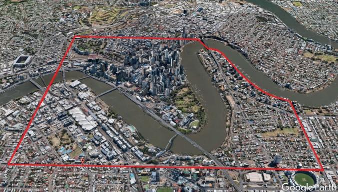 Brisbane Town boundary 1844 3d Wade