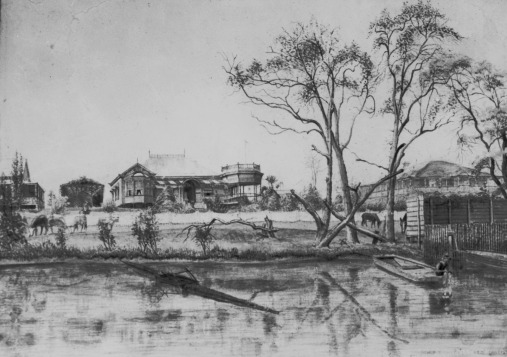 drawing riverside house hill end ca 1890 slq