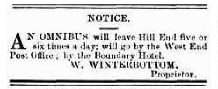 hill end omni bus notice tele 28 nov 1878
