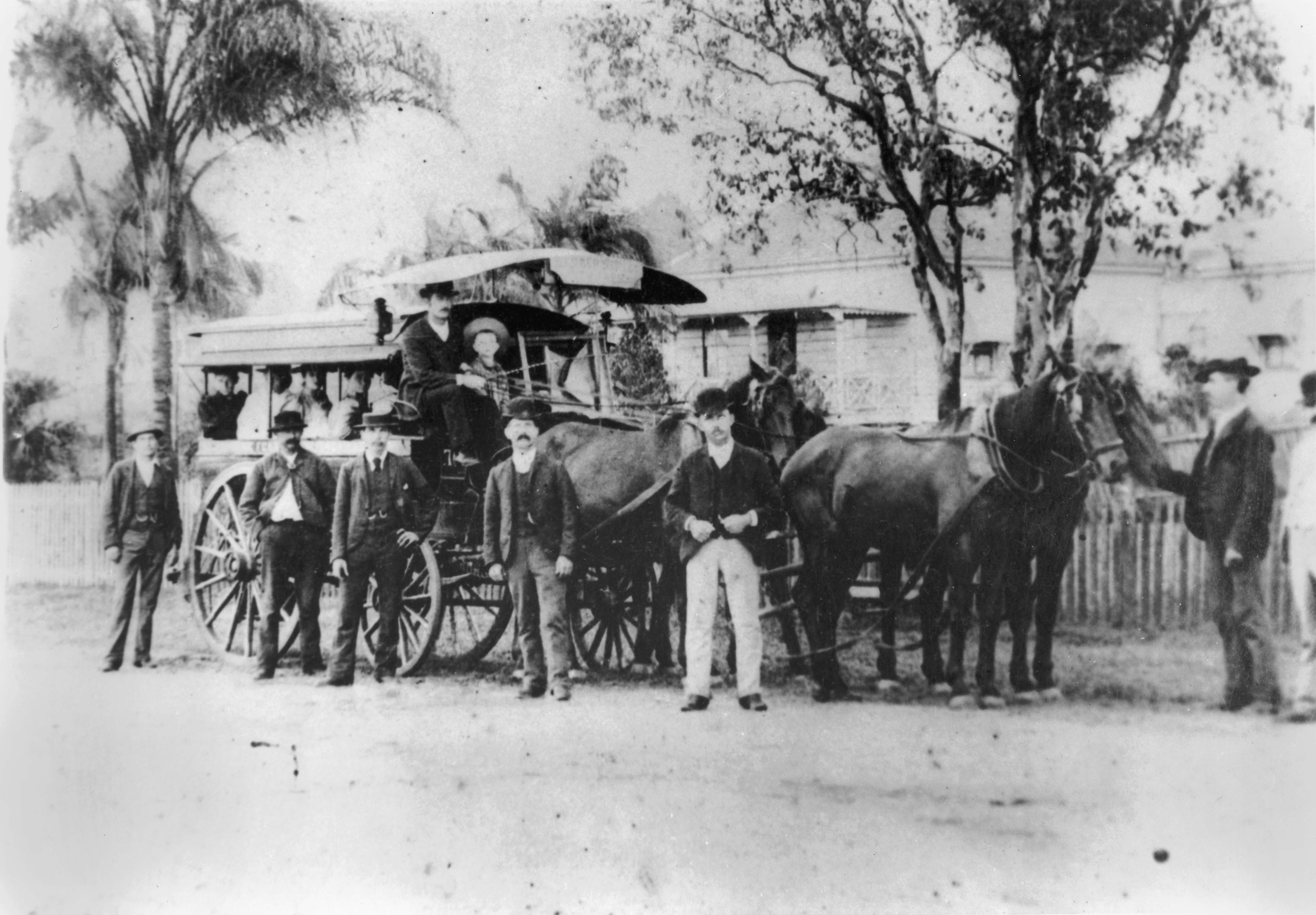 Horse bus owned by John Clark awaiting departure Brisbane 1890s blog