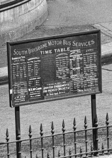 Bus timetable in North Quay 1926. (State Library of Queensland)