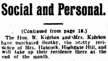 kidstons purchaSE house telegraph 14 may 1910