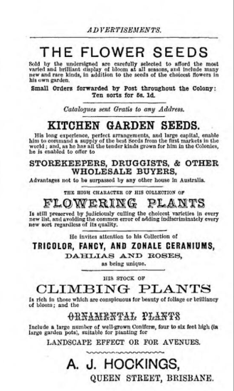 "An advertising page from Hockings' book ""The Flower Garden in Queensland"". (Trove)"