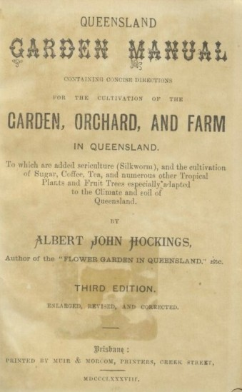 The frontispiece 1888 edition of the Queensland Garden Manual. (TROVE)