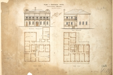 "Design for the ""Plough Inn"", 1886. (http://www.wilsonarchitects.com.au/)"