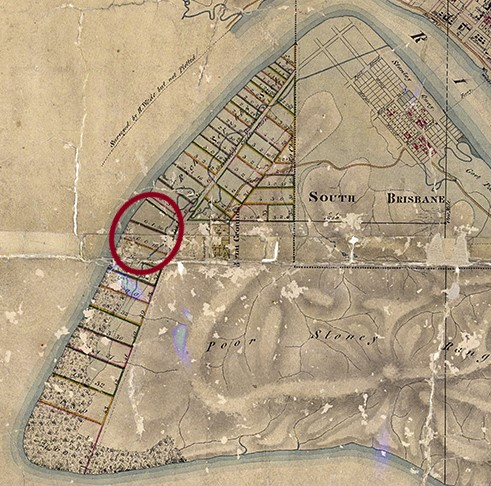 henry wade 1844 map south brisbane