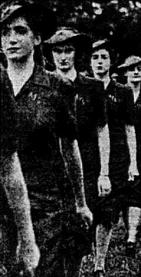 Members of the Women's Volunteer Fire Brigade at Davies Park, ( Telegraph 10th April, 1943 via Trove)