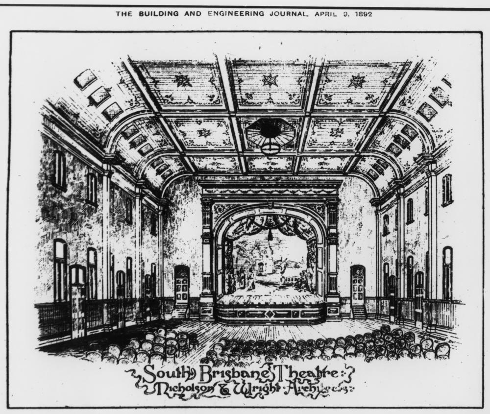 Artists sketch of the South Brisbane Theatre slq