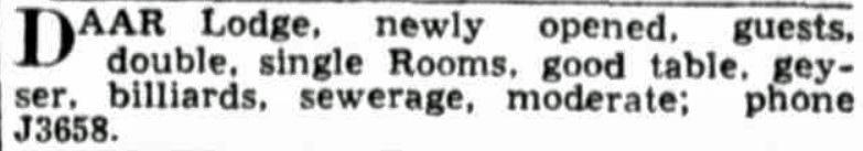 daar lodge telegraph 14 november 1933