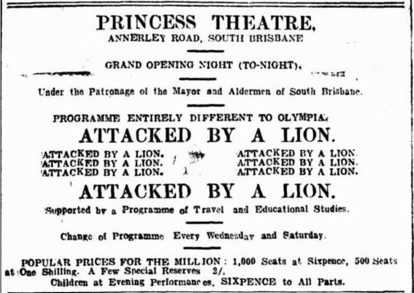 princess theatre opening telegraph 1 june 1912