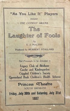 'As you like it' players 'The Laughter of Fools' Princess Theatre 1937. (State Library of Queensland)