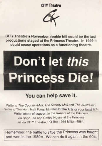 A poster from 1999. (Facebook princesstheatrebrisbane)
