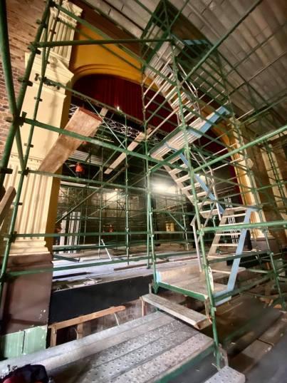 Restoration work underway April 2021. (Facebook princesstheatrebrisbane)
