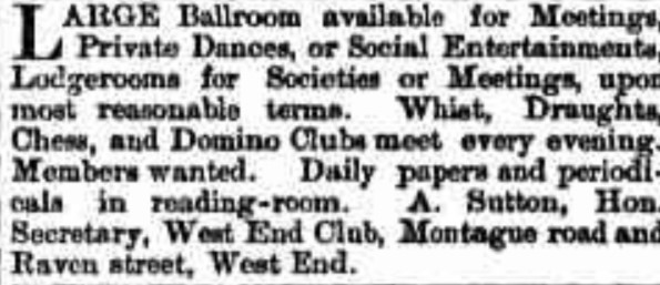 tele 13 august 1892 wesrt end club