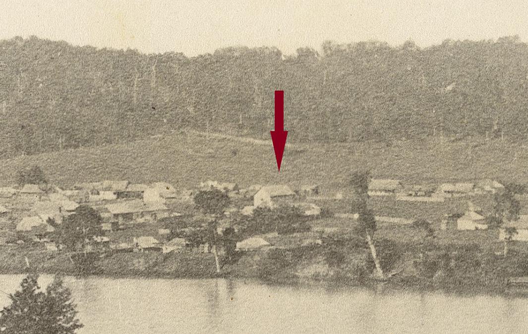 south brisbane panorama 1862 presbyterian church arrow